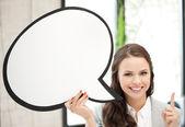 Empresaria sonriente con la burbuja de texto en blanco — Foto de Stock