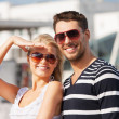 Happy young couple in port — Stock Photo #22015795