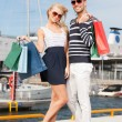 Young couple in duty free shop - Foto Stock