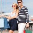 Young couple in duty free shop — Stock Photo #22015865