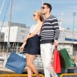 Young couple in duty free shop — Stock Photo #22015873