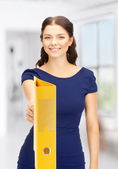 Woman with folders — Stockfoto