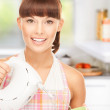 Housewife with mixer — Stock Photo