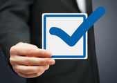 Closeup of checkbox and blue mark in it — Stock Photo
