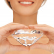 Woman&#039;s hands showing big diamond - Stockfoto