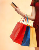 Picture of woman with shopping bags — Stock Photo