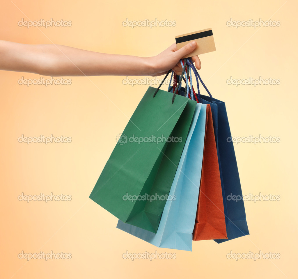 Multi color cardstock paper - Closeup Of Multi Colored Shopping Bags And Credit Card Photo By Syda_productions