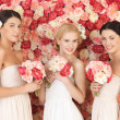 Three women with background full of roses — Stock Photo