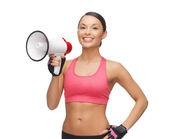 Mujer con megáfono — Foto de Stock