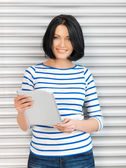 Student girl with tablet pСЃ — Stock Photo