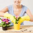 Housewife with flower in pot and gardening set - Stok fotoğraf