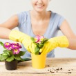 Housewife with flower in pot and gardening set - Stock Photo