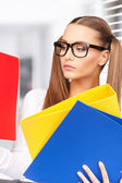 Woman with folders — Foto de Stock