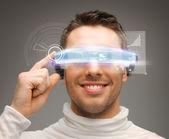 Biznesmen z cyfrowy okulary — Zdjęcie stockowe