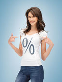 Girl pointing at percent sign — Stock Photo
