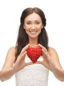 Woman showing heart shape — Stock Photo