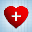 Heart shape sign with cross — Stok fotoğraf