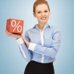Woman with big percent box — Stock Photo