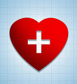 Heart shape sign with cross — Stockfoto