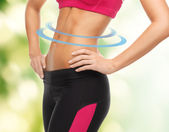 Woman trained abs — Stock Photo