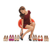 Woman trying on high heeled shoes — Stock Photo