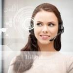 Futuristic female helpline operator — Stock Photo