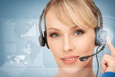 Futuristic female helpline operator — Stock Photo