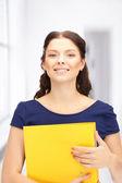 Woman with folders — Stock Photo