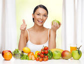 Woman with healthy food — Stock Photo