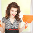 Beautiful womwith cleaning sweep — Stock Photo #25271379