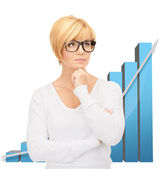 Businesswoman with colorful 3d graphics — Foto Stock