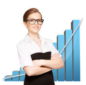 Businesswoman with big 3d chart — Stockfoto