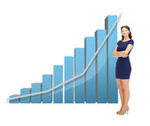 Businesswoman with big 3d chart — Stock fotografie