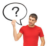 Man with text bubble and question mark — Stock Photo