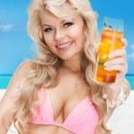 Woman in bikini with cocktail — Stock Photo #25999183