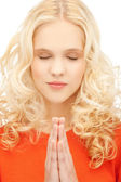 Picture of young praying girl — Stock Photo