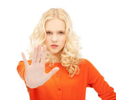 Girl making stop gesture — Stock Photo