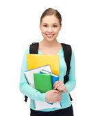 Studente con libri e zainetto — Foto Stock
