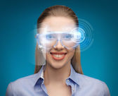 Businesswoman with digital glasses — Stock Photo