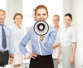 Happy woman with megaphone — Stock Photo