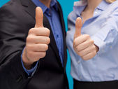 Business team showign thumbs up — Stock Photo