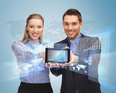 Business showing tablet pc — Stock Photo