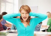 Student screaming at school — Stock Photo