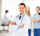 Male doctor with stethoscope — Stock Photo