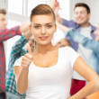 Woman showing thumbs up — Stock Photo