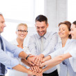 Business team celebrating victory in office — Foto Stock