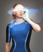 Woman in futuristic glasses — Stock Photo