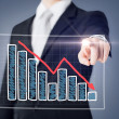 Stock Photo: Businessmhand with chart on virtual screen