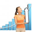 Woman with rising graph and arrow directing up — Stock Photo