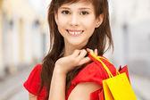 женщина с сумки в тихий — Стоковое фото